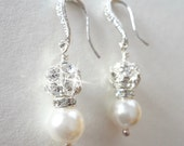 Pearl earrings - Sterling silver ear wires - Bridal Jewelry - Brides earrings Bridesmaids earrings - Elegant, Classic, Gift ~FROSTED