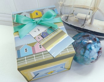 Beach Huts Gift Wrapping Paper Set - Summer, Birthday, Seaside