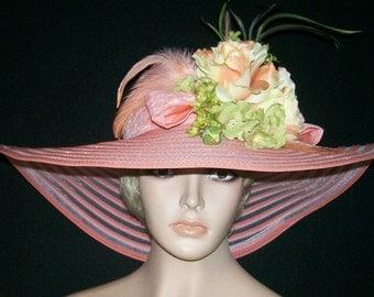 Ladies Peach Hat - Kentucky Derby Hat, Garden Party Hat or Tea Party