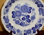 Blue White Floral Bowl/Cereal/Vegetable Bowl/Blue Grape Leaves/Blue Flowers