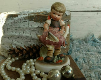 Vintage Napco Little Girl Statue - Mid Century Young Lady With a Goose Collectible Statue, Farmhouse Chic Whimsical Decorating Figurine