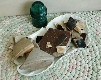 Antique Broken Pottery Shards - Mosaic Tile, TWO Pounds of Broken Vintage Salt Glazed Pottery Pieces, Art Pottery Shards, Craft Art Supplies