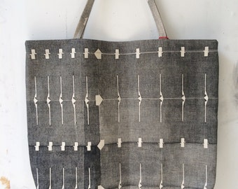 Extra large hand printed organic canvas beach bag