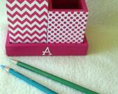 Desk organizer - Hot Pink Chevron - Hot Pink Polka Dot -  Medium - Pencil Cup Holder Set - Personalized