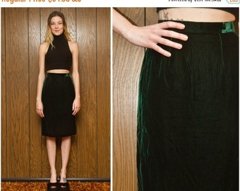 SALE Vintage 60s 70s 80s Hunter Forest Emerald Green Velvet Pin Up Wiggle High Waist Preppy Knee Length Fully Lined Pleated Pencil Skirt S