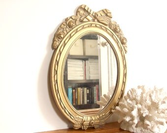Gold Framed Mirror, Oval, Gilt, Gilded, Vanity Mirror, Roses and Bows, Vintage Hollywood Regency Table Mirror, Cottage Decor