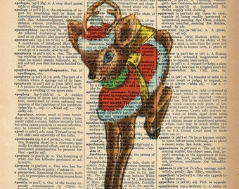Dictionary Art Print - Christmas Reindeer -  Upcycled Vintage Dictionary Page Poster Print - Size 8x10