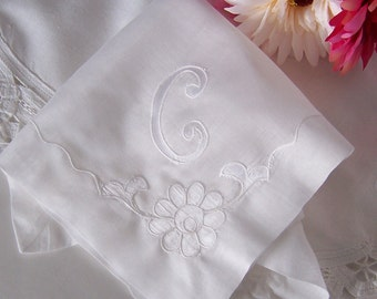 Wedding Handkerchief Monogrammed C for a Bride's Something Old Keepsake, Bridal Hanky Shower Gift Initial C in White
