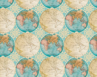 Globes Allover by David Textiles Cotton Fabric by the yard