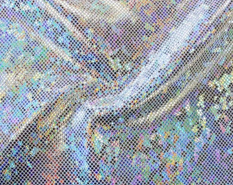 Shattered Glass Hologram Stretch Spandex Fabric by the yard - Silver/White