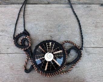 Shell necklace, Black necklace, Native necklace, Abstract necklace, Big necklace, Tribal necklace, Pine needle necklace, Fashion necklace