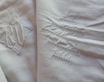 Long antique French linen bolster cover case for bolster pillow w hand made drawnwork, hand monogrammed RV, vintage French white bed linens