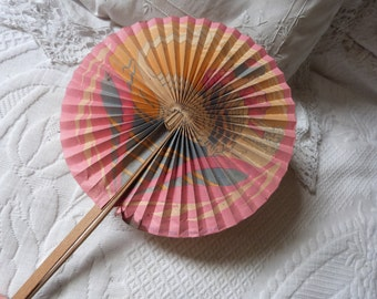 Antique hand fan art deco folding fan French artdeco paper handfan w wooden handle from Paris, French boudoir ladies accessories accessory
