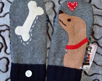 Handmade 100% WOOL sweater MITTENS, Fleece Lined, DOG Labrador Golden Retriever