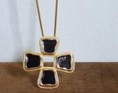 20% CNY SALE - Vintage 80's Clover Cross Black & Gold Long Pendant Chain Necklace