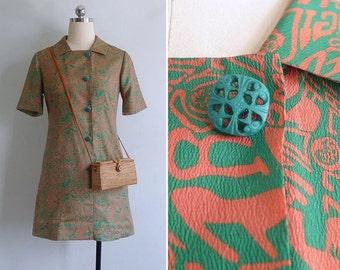 20% CNY SALE - Vintage 70's 'Wacky Doodle' Asian Mod Green & Coral Dress XS or S