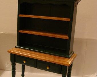 "Cupboard, Green & Tan Wood Dollhouse Cupboard,  2 Drawers, 2 Shelves, High Legs, 6"" Tall"