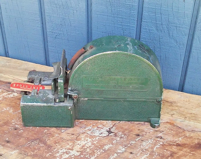 Vintage Dry Tape Sealer with Tape - Butcher Tape Dispenser - Deli Tape Dispenser