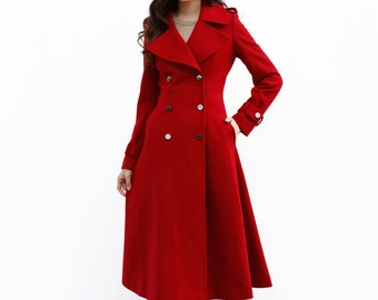 Wine Red Coat / Long Wool Coat / Double Breasted Jacket / Military Coat / Winter Jacket - NC648