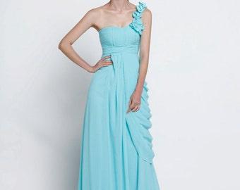 On Sale Size XXS Light Blue Wedding dress , Silk Chiffon party dress - NC516-1
