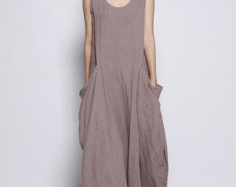 Gray Big Pockets Maxi Dress / Unique Loose fitting Long Dress /Vest Sundress Asymmetric Summer Dress  for Women  - NC699