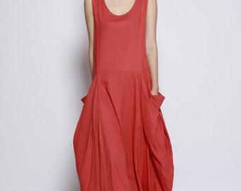 Dark Orange Big Pockets Maxi Dress / Unique Loose fitting Long Dress /Vest Sundress Asymmetric Summer Dress  for Women  - NC699