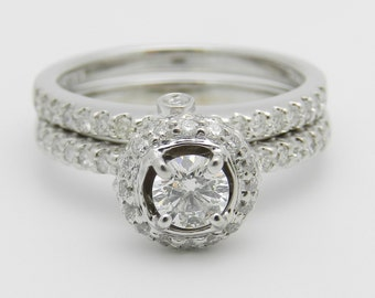 1.18 ct Halo Diamond Engagement Ring Set 14K White Gold Wedding Ring Band Set Size 7.25