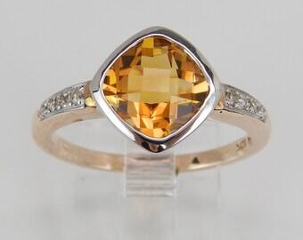 Diamond and Orange Citrine Halo Engagement Ring Promise Ring Size 7.25 White Rose Gold