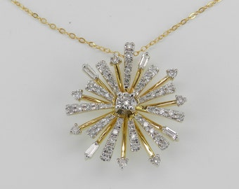 "Diamond Cluster Necklace Pendant 14K Yellow Gold Snowflake Starburst Chain 18"""