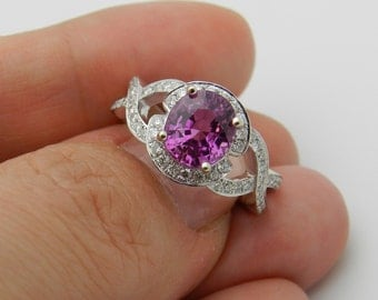 3.27 ct Diamond and Pink Sapphire Halo Engagement Ring 14K White Gold Size 6.5