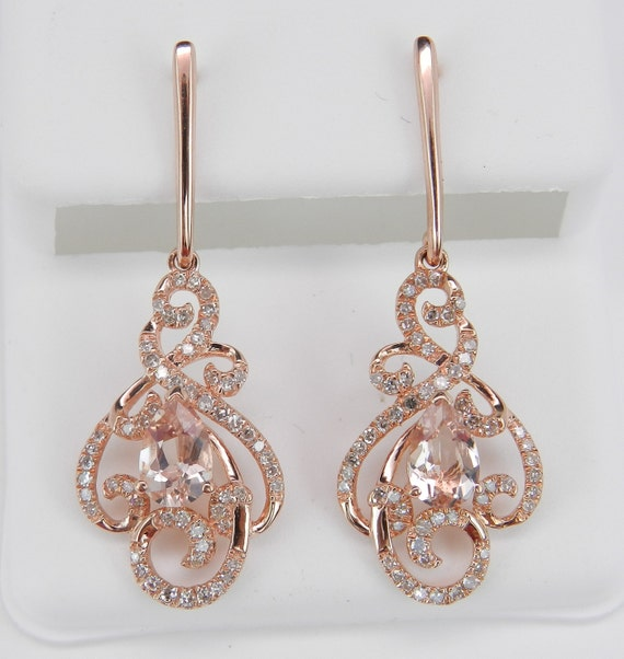 Morganite and Diamond Dangle Drop Earrings 14K Rose Pink Gold Unique Gemstone Gift