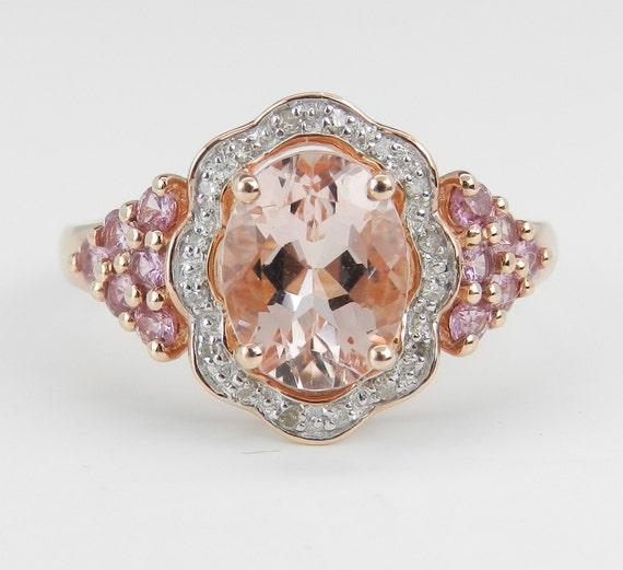 Morganite Pink Tourmaline Diamond Halo Engagement Ring 14K Rose Gold Size 7.75