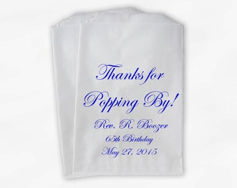 Thanks for Poppin By Popcorn Bags - Royal Blue Custom Candy Buffet Favor Bags for Birthday Party - 25 Paper Treat Bags (0074)