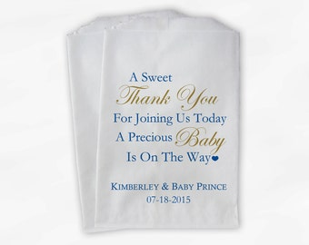 Sweet Thank You Baby Shower Candy Buffet Treat Bags - Set of 25 Blue and Gold Personalized Favor Bags (0108)