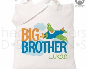 Airplane Big Brother Tote Bag / Airplane Tote Bag - Perfect for a Big Brother Kit