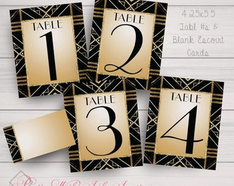 Table Number/Name Cards, Escort Cards, Place Cards, Gatsby, Roaring 20s Style, Silver, Gold, Black, Purple. Printed items only.