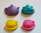 Tea Party Mini Crayons - Set of 4 - Great for Alice in Wonderland