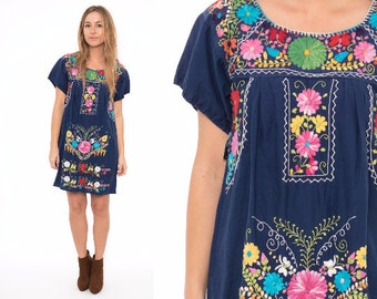 Vintage 70's Navy Blue Oaxacan Mexican Embroidered Floral Dress