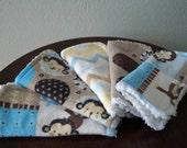 Baby Washcloths - Baby Boy Wash Cloth Set - Monkeys - Blue and Brown - Baby Bath Gift