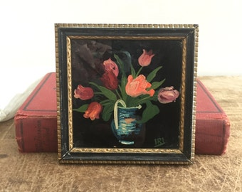 Vintage miniature with reverse painting on glass