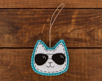 White Cat in Aviator Shades Hanging Ornament/Decor