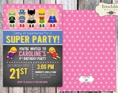 Super Hero Girl Birthday Party Invitation- 5 X 7 - Professionally printed - Envelopes Included (Digital File Version Available)