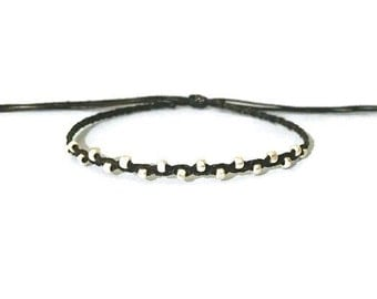 tiny faceted silver nuggets beaded dainty adjustable friendship bracelet. riley.