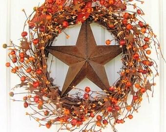 Summer Wreath - Fall Wreath - Pumpkin Wreaths - Pumpkin Rusty Star Berry Wreath -Star Wreaths - Pip Berry Wreath - Halloween