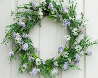 READY TO SHIP - Storm Door Wreath - Floral Wreath - White & Blue Floral Wreath - Summer Wreath - Front Door Wreath - Spring Celebrations