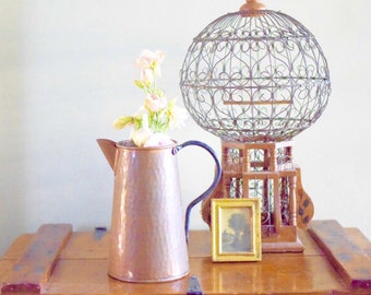 Vintage Copper Pitcher Farmhouse Decor Vase