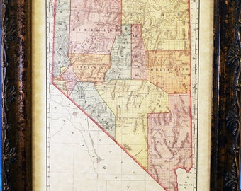 Nevada State Map Print of an 1897 Map on Parchment Paper