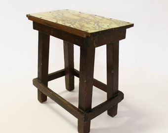 Vintage Rustic Stool or Side Table, Formica / Wood, Mint Green / Brown