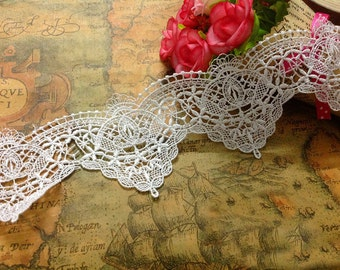 "5 yard 5cm 1.96"" wide ivory embroidery tapes lace trim ribbon sns5m free ship"