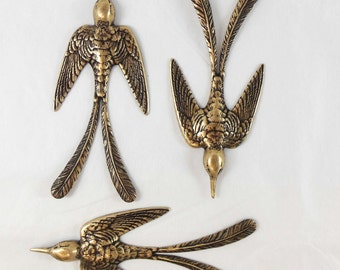 Brass Birds, Bird Stampings, Bird Jewelry, Jewelry Making, Brass Ox, Jewelry Making, US Made, B'sue Boutiques, 3.50 Inches Long, Item07692